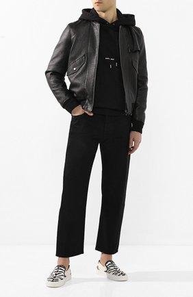 Мужские текстильные слипоны venice SAINT LAURENT черно-белого цвета, арт. 585742/10D20 | Фото 2