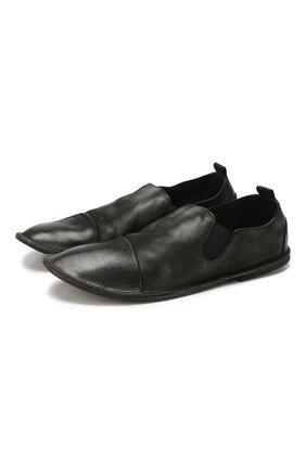 Мужские кожаные слиперы MARSELL черного цвета, арт. MM1450/PELLE NABUKATA   Фото 1