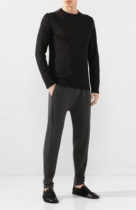 Мужские кожаные слиперы MARSELL черного цвета, арт. MM1450/PELLE NABUKATA   Фото 2