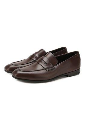 Мужские кожаные пенни-лоферы ERMENEGILDO ZEGNA темно-коричневого цвета, арт. A4001X-LHAFR | Фото 1