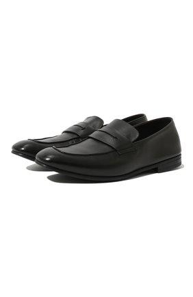Мужские кожаные пенни-лоферы ERMENEGILDO ZEGNA черного цвета, арт. A4001X-LHAFR | Фото 1