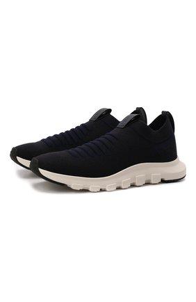 Мужские текстильные кроссовки Z ZEGNA темно-синего цвета, арт. A4416X-LHSTE | Фото 1