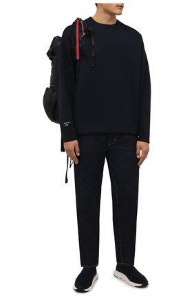 Мужские текстильные кроссовки Z ZEGNA темно-синего цвета, арт. A4416X-LHSTE | Фото 2 (Подошва: Массивная; Материал внешний: Текстиль; Материал внутренний: Текстиль; Стили: Спорт; Статус проверки: Проверена категория)