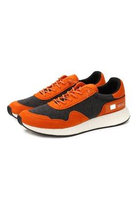 Мужские комбинированные кроссовки Z ZEGNA оранжевого цвета, арт. A4411X-LHTS0 | Фото 1