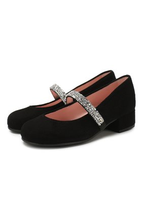 Детские замшевые туфли PRETTY BALLERINAS черного цвета, арт. 48.788/ANGELIS | Фото 1