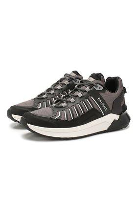 Мужские комбинированные кроссовки BALMAIN серого цвета, арт. TM1C212/LMNR | Фото 1