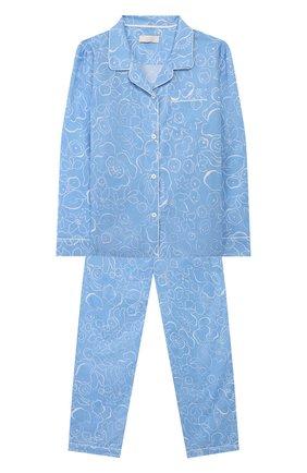 Детская хлопковая пижама LITTLE YOLKE голубого цвета, арт. SS20-12C-MA-BL/9-12Y | Фото 1