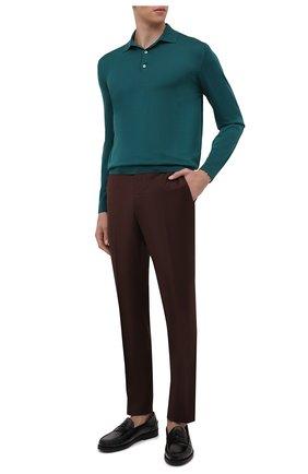 Мужское шерстяное поло LORO PIANA зеленого цвета, арт. FAI2551 | Фото 2 (Рукава: Длинные; Материал внешний: Шерсть; Длина (для топов): Стандартные; Кросс-КТ: Трикотаж; Застежка: Пуговицы)