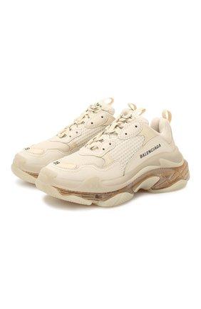 Женские комбинированные кроссовки triple s BALENCIAGA кремвого цвета, арт. 544351/W0901 | Фото 1