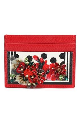 Женский футляр для кредитных карт DOLCE & GABBANA красного цвета, арт. BI0330/AZ529 | Фото 1