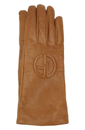 Женские кожаные перчатки GIORGIO ARMANI бежевого цвета, арт. 794202/9A202 | Фото 1