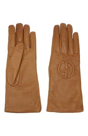 Женские кожаные перчатки GIORGIO ARMANI бежевого цвета, арт. 794202/9A202 | Фото 2