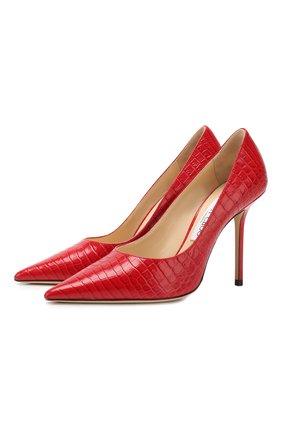 Женская кожаные туфли love 100 JIMMY CHOO красного цвета, арт. L0VE 100/CCL | Фото 1