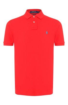 Мужское хлопковое поло POLO RALPH LAUREN красного цвета, арт. 710782592 | Фото 1 (Рукава: Короткие; Материал внешний: Хлопок; Длина (для топов): Стандартные; Застежка: Пуговицы)