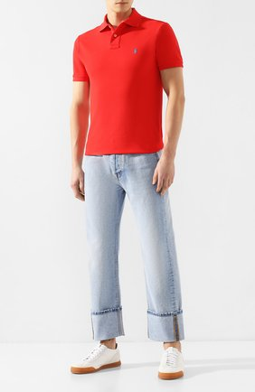 Мужское хлопковое поло POLO RALPH LAUREN красного цвета, арт. 710782592 | Фото 2 (Рукава: Короткие; Материал внешний: Хлопок; Длина (для топов): Стандартные; Застежка: Пуговицы)