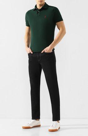 Мужское хлопковое поло POLO RALPH LAUREN темно-зеленого цвета, арт. 710782592 | Фото 2