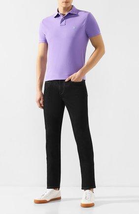 Мужское хлопковое поло POLO RALPH LAUREN фиолетового цвета, арт. 710782592 | Фото 2