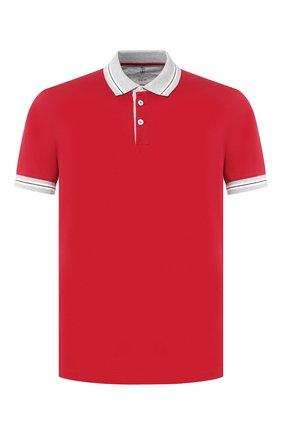 Мужское хлопковое поло BRUNELLO CUCINELLI красного цвета, арт. M0T610704 | Фото 1 (Рукава: Короткие; Материал внешний: Хлопок; Длина (для топов): Стандартные; Застежка: Пуговицы)
