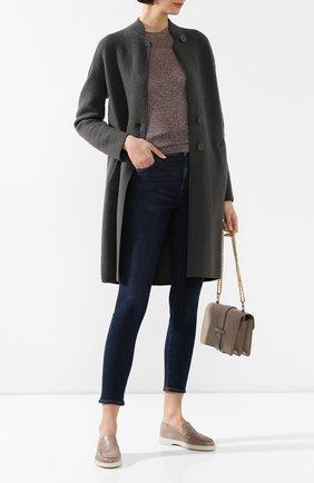 Женские кожаные лоферы SANTONI коричневого цвета, арт. WUYA58673TISCBPHM20 | Фото 2