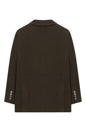 Детский хлопковый пиджак BRUNELLO CUCINELLI хаки цвета, арт. BN4176261C | Фото 2