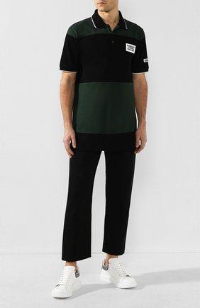 Мужское хлопковое поло BURBERRY черного цвета, арт. 8023975 | Фото 2