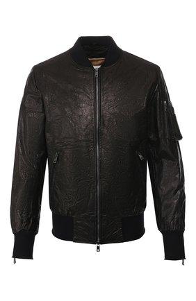 Мужской кожаный бомбер GIORGIO BRATO черного цвета, арт. GU20S9499CRUM | Фото 1