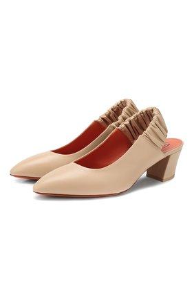 Женская кожаные туфли SANTONI бежевого цвета, арт. WDHC58569HI2CIZTE40 | Фото 1
