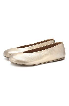 Женские кожаные балетки MARSELL золотого цвета, арт. MW5322/PELLE LAMINATA | Фото 1