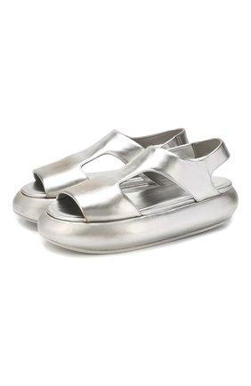 Женские кожаные сандалии MARSELL серебряного цвета, арт. MW5246/PELLE LAMINATA | Фото 1