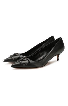 Женская кожаные туфли valentino garavani vlogo VALENTINO черного цвета, арт. TW2S0Q63/MZF | Фото 1