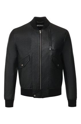 Мужской кожаный бомбер SAINT LAURENT черного цвета, арт. 601620/YC2ZW | Фото 1 (Материал подклада: Купро; Принт: Без принта; Мужское Кросс-КТ: Кожа и замша, Верхняя одежда; Рукава: Длинные; Длина (верхняя одежда): Короткие; Кросс-КТ: Куртка; Стили: Кэжуэл)