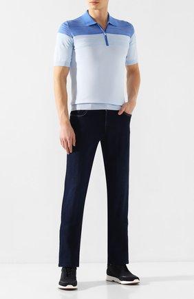 Мужское поло из смеси шелка и хлопка ZILLI голубого цвета, арт. MBT-PZ112-BIC01/MC02 | Фото 2