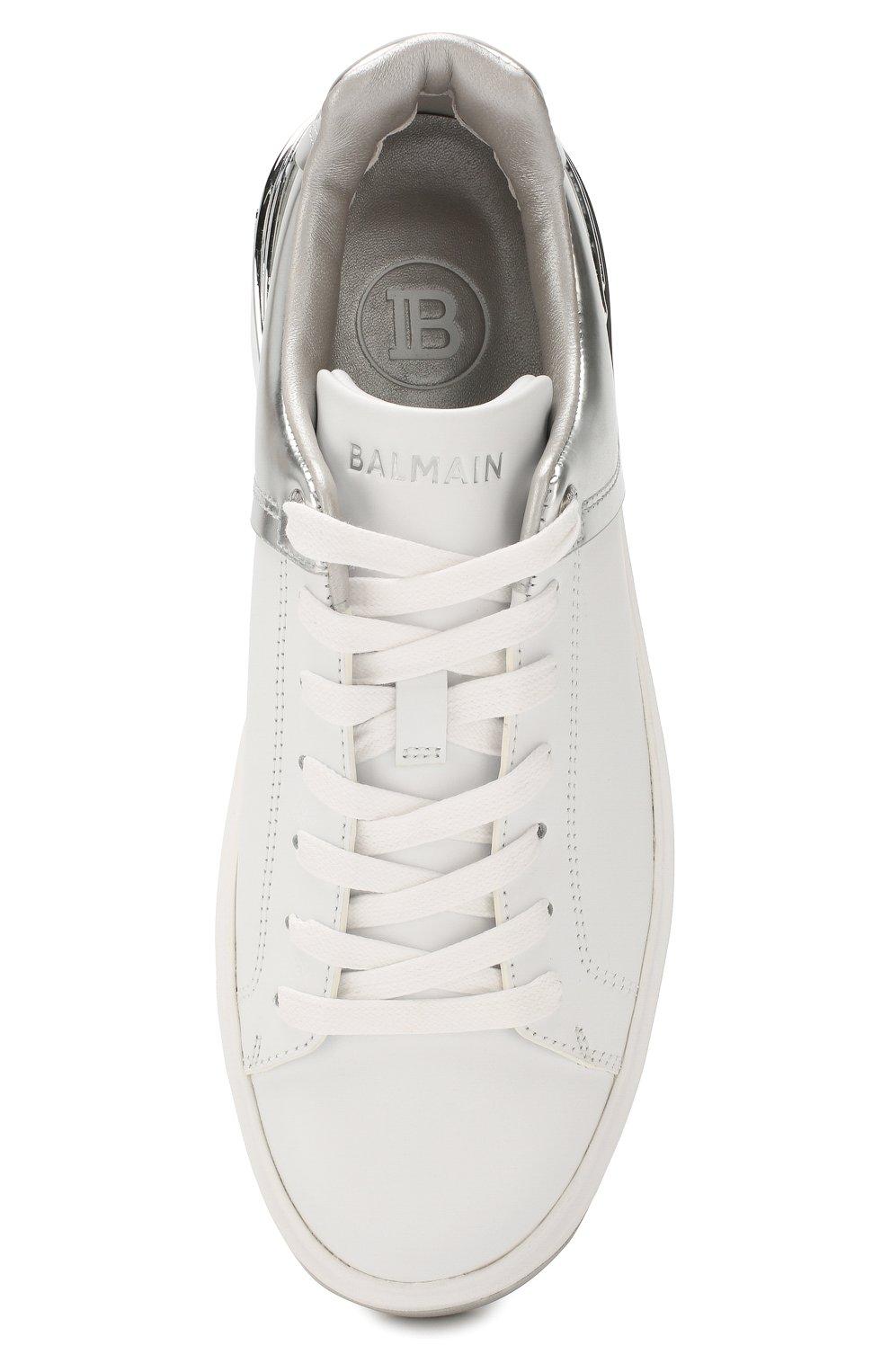 Женские кожаные кеды b-court BALMAIN белого цвета, арт. TN1C328/LSBM   Фото 5