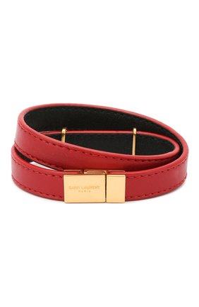 Женский кожаный браслет SAINT LAURENT красного цвета, арт. 536073/BL40J | Фото 2