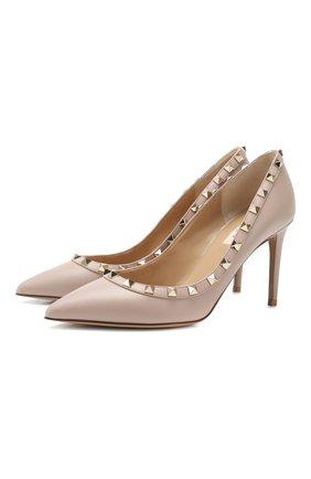 Женская кожаные туфли valentino garavani rockstud VALENTINO бежевого цвета, арт. TW2S0A04/V0D | Фото 1