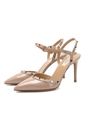 Женская кожаные туфли valentino garavani rockstud VALENTINO бежевого цвета, арт. TW2S0S98/VNW | Фото 1