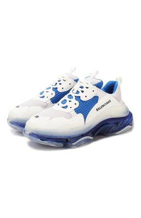 Женские комбинированные кроссовки triple s BALENCIAGA синего цвета, арт. 544351/W090N | Фото 1