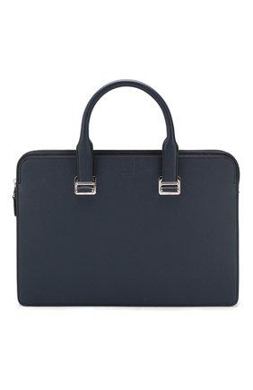 Мужская кожаная сумка для ноутбука DUNHILL темно-синего цвета, арт. DU20R3420CA | Фото 1
