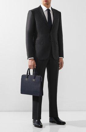 Мужская кожаная сумка для ноутбука DUNHILL темно-синего цвета, арт. DU20R3420CA | Фото 2
