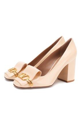 Женская кожаные туфли valentino garavani vlogo VALENTINO кремвого цвета, арт. TW2S0V56/EYQ | Фото 1