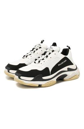 Мужские комбинированные кроссовки triple s BALENCIAGA белого цвета, арт. 536737/W090M | Фото 1