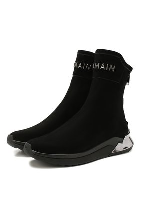 Мужские замшевые кроссовки b-glove BALMAIN черного цвета, арт. TM1C211/LSDE | Фото 1