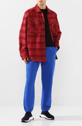 Мужские текстильные кроссовки speed BALENCIAGA синего цвета, арт. 587286/W1702   Фото 2