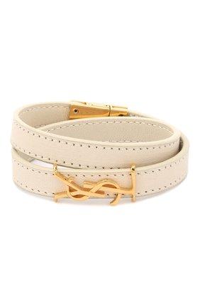 Женский кожаный браслет SAINT LAURENT белого цвета, арт. 536073/05B3J | Фото 1