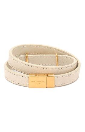 Женский кожаный браслет SAINT LAURENT белого цвета, арт. 536073/05B3J | Фото 2