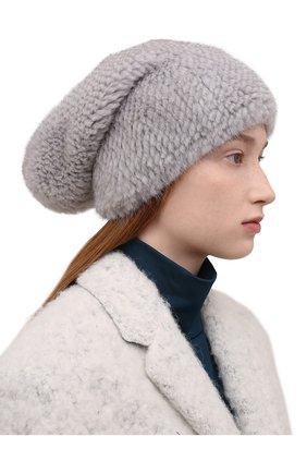 Женская шапка из меха норки KUSSENKOVV голубого цвета, арт. 050750036071   Фото 2 (Материал: Натуральный мех; Статус проверки: Проверена категория)