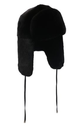Женская шапка-ушанка из меха норки KUSSENKOVV черного цвета, арт. 092800002093   Фото 1 (Материал: Натуральный мех; Статус проверки: Проверена категория)