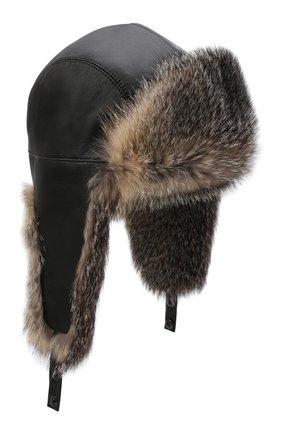 Кожаная шапка-ушанка с отделкой из меха лисицы | Фото №1