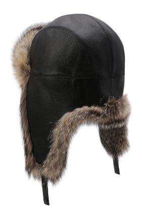 Кожаная шапка-ушанка с отделкой из меха лисицы | Фото №2