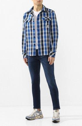 Мужская хлопковая рубашка DIESEL синего цвета, арт. 00SBEZ/0LAXJ   Фото 2